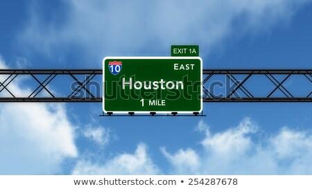 Houston Texas autópálya tábla zöld USA felhő Stock fotó © kbuntu