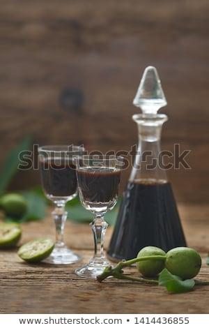 şişe şarap ahşap gül arka plan restoran Stok fotoğraf © inaquim