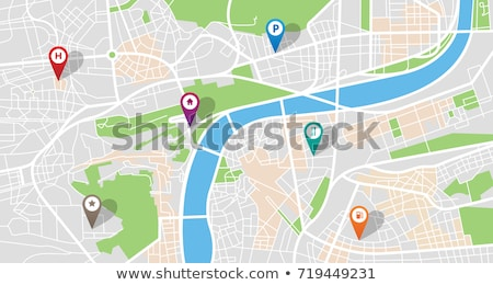 Stockfoto: City Map With Gps Icons