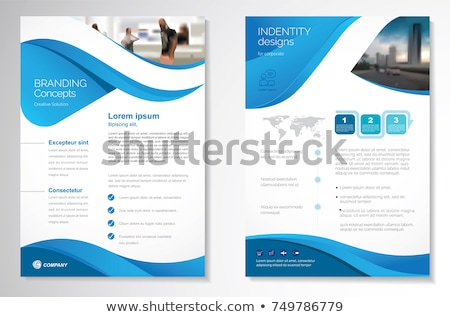 Abstract Blauw brochure ontwerp kantoor wereldbol Stockfoto © rioillustrator