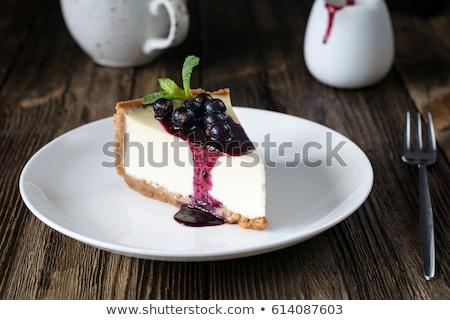 taze · yaban · mersini · cheesecake · sos · üst - stok fotoğraf © bendicks