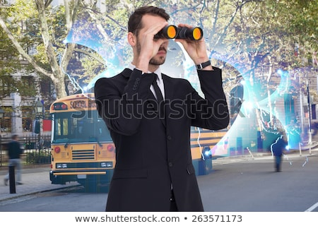 Young brown-haired man in a bus with computer Stock photo © photography33