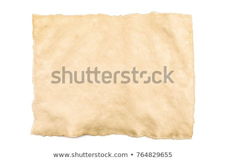 Isolated old vintage yellowing folded paper with torn edges. Stock photo © latent
