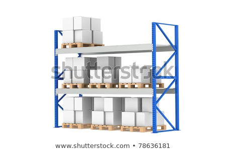 warehouse shelves medium stock level part of a blue warehouse and