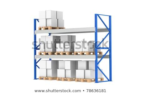 Foto stock: Warehouse Shelves Medium Stock Level Part Of A Blue Warehouse And Logistics Series