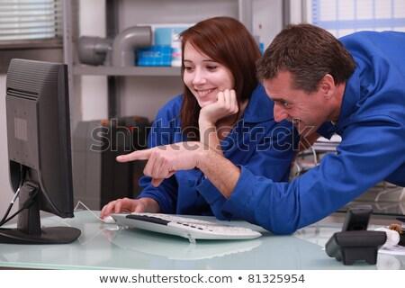 Twee collega's Blauw kijken computer kantoor Stockfoto © photography33