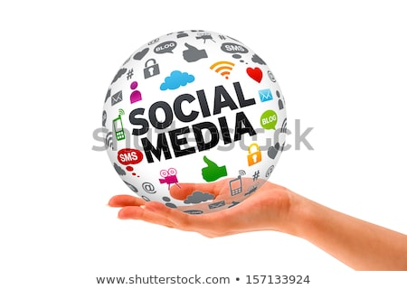 hand holding a social media 3d sphere stock photo © kbuntu