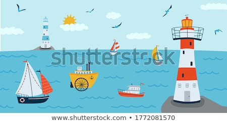 Lighthouse and Steamer Ship stock photo © Kenneth_Keifer