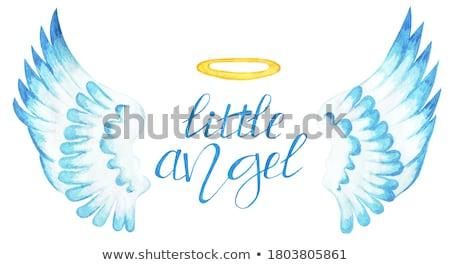 Meisje vleugels halo kind kunst schilderij Stockfoto © zzve