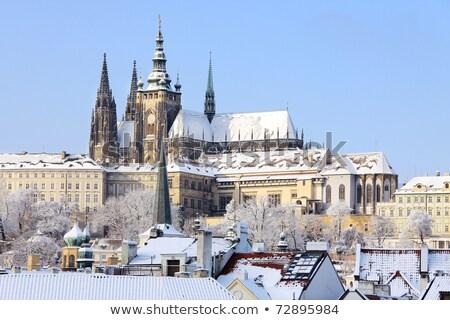 castelo · inverno · Praga · cidade · crepúsculo · luz - foto stock © courtyardpix