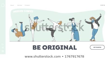homem · quadril · pop · passos · cinza · exercer - foto stock © get4net