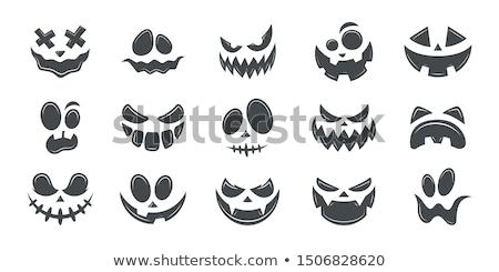 Хэллоуин улыбка икона аннотация белый сердиться Сток-фото © WaD