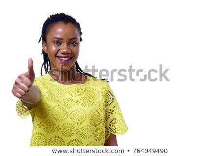kadın · beyaz · mutlu · arka · plan · parmak - stok fotoğraf © wavebreak_media