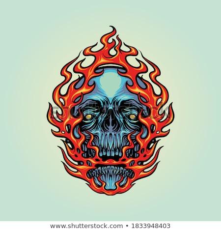 пылающий демон череп 3d визуализации огня Сток-фото © AlienCat