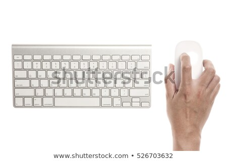 computer keyboard aluminum silver hand stock photo © lunamarina