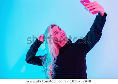 Moda ragazza foto fotocamera cellulare Foto d'archivio © lunamarina