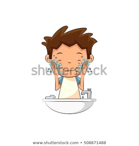 Fiatal srác gyermek mosás arc szappan víz Stock fotó © lovleah
