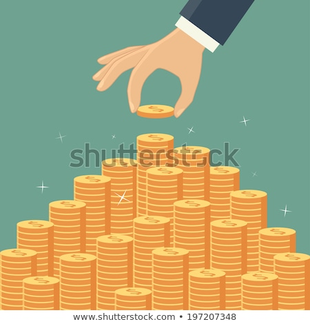 hand adding coins to stacks of money stock photo © len44ik