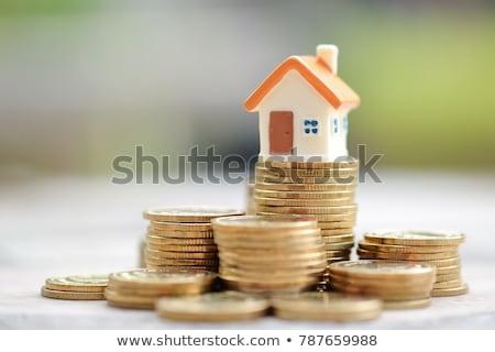 Casă bani cer albastru hârtie acasă Imagine de stoc © mariephoto