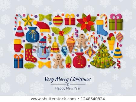 gingerbread 3d cartoon christmas bell with holly stock photo © thodoris_tibilis