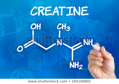 Hand with pen drawing the chemical formula of creatine Stock photo © Zerbor