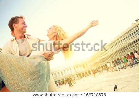 Stok fotoğraf: Romantik · çift · sevmek · Venedik