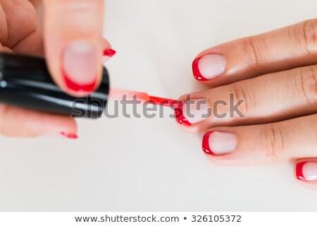 nagel · vernis · vinger · nagels · witte · handdoek - stockfoto © juniart