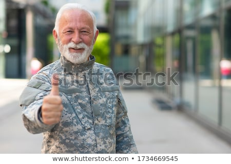 mutlu · olgun · asker · yalıtılmış · beyaz · savaş - stok fotoğraf © AndreyPopov
