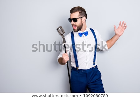 man · hoofdtelefoon · zingen · muziek · show - stockfoto © jackethead