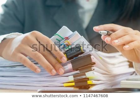 kobieta · dokumentów · kurtka · czytania - zdjęcia stock © maros_b