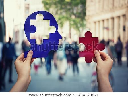 Pszichológia puzzle fej emberi arc oldalnézet Stock fotó © Lightsource
