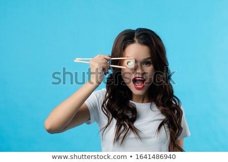 Nina sushi jóvenes aislado clip art Foto stock © lenm
