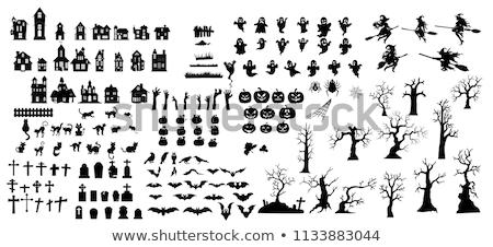 Foto stock: Halloween · establecer · vector · iconos · edificio · naturaleza