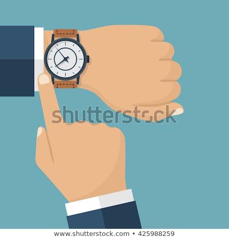 zwarte · leder · witte · goud · horloge - stockfoto © foka