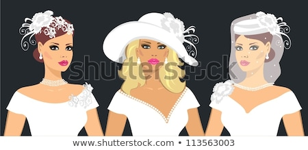 Mulher jovem seis véu retrato luvas menina Foto stock © courtyardpix