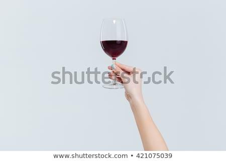 elegante · mujer · copa · de · vino · alimentos - foto stock © artjazz