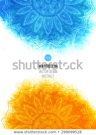 Foto stock: Abstract Blue Floral Background With Round Vector Pattern