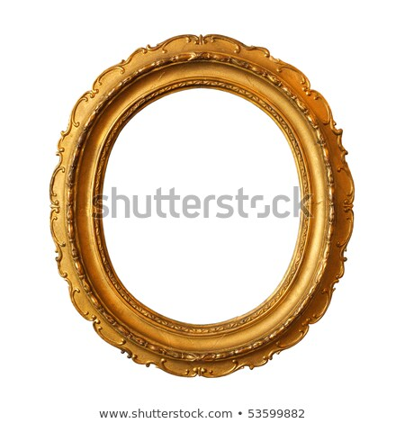 round ornamented old gold picture frame isolated on white Stock photo © vizarch