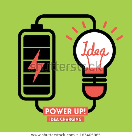 Foto stock: Light Bulb Charging Battery Power Idea Design