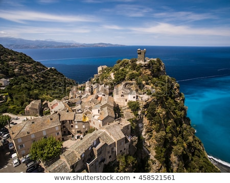 Beach and village of Nonza on Cap Corse in Corsica Stock photo © Joningall