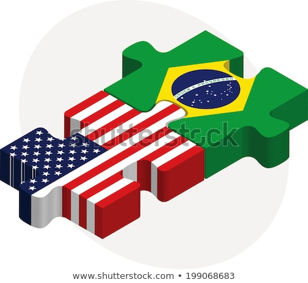 usa and brazil flags in puzzle stock photo © istanbul2009