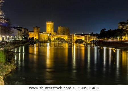 橋 · ヴェローナ · イタリア · 城 · 建物 · 建設 - ストックフォト © marco_rubino