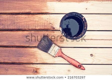 schilderij · houten · tafel · penseel · huis · werk · home - stockfoto © jirkaejc