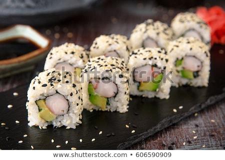 寿司 ごま アボカド エビ 孤立した ストックフォト © olira
