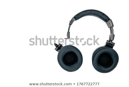 Roto estéreo auriculares blanco negro color Foto stock © dezign56