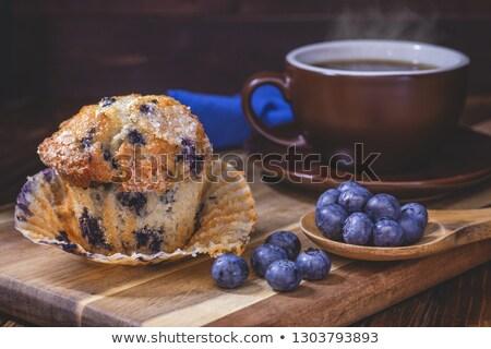 ontbijt · muffins · koffie · vers · papier - stockfoto © dariazu