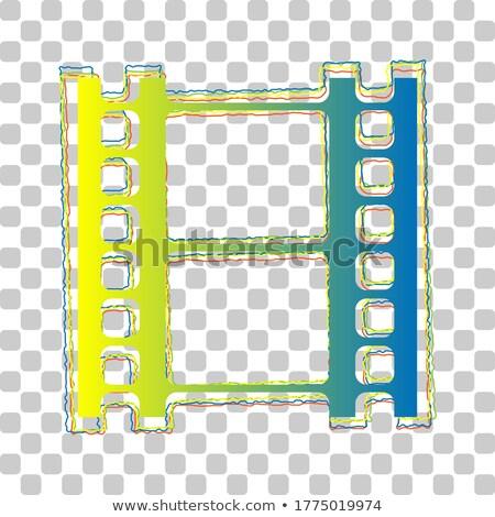 blue transparent film reel icon stock photo © cidepix