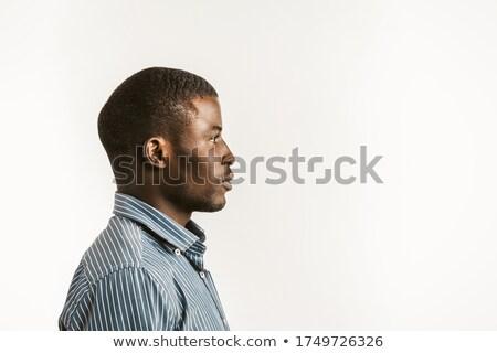 lado · perfil · jóvenes · hombre · aislado - foto stock © deandrobot