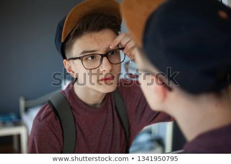 Portré aranyos fiú serdülőkor tizenéves fiú mosoly Stock fotó © meinzahn