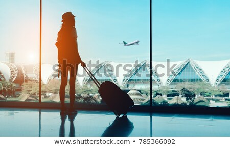 Podróży dziewczyna sylwetka lotniska bilet kobiet Zdjęcia stock © illustrart